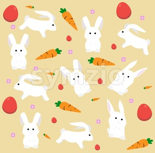 Easter rabbits and carrots pattern Vector. Holiday flat style background Stock Vector