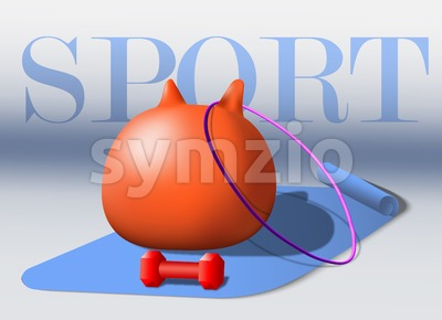Sport equipment Vector. Fitness goods. gray background Stock Vector