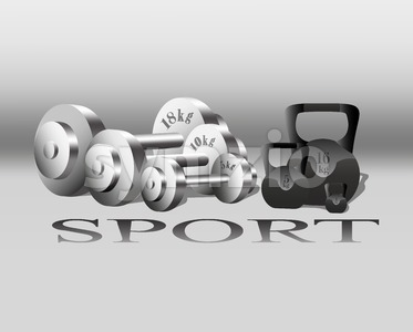 Sport equipment Vector. Fitness Weights. gray background Stock Vector