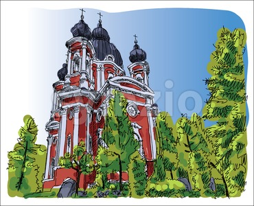 Digital vector sketch of curchi monastery Stock Vector