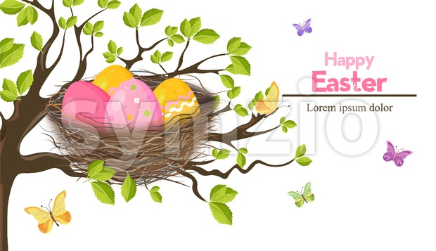 Easter holiday card with Eggs nest Vector. Spring theme Stock Vector