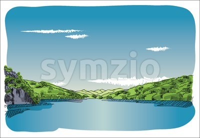 Digital vector sketch lake at transfagaras Stock Vector