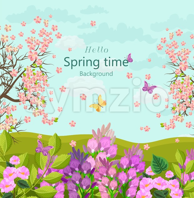 Spring time card with flowers Vector. floral background Flat style Stock Vector