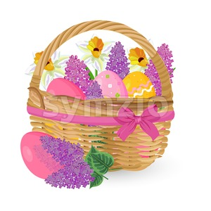 Lilac flowers and eggs in a basket Vector. Easter holiday element Stock Vector