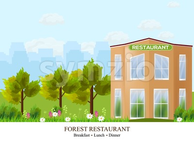 Vector Facade Restaurant architecture. Beautiful building in the forest illustration Stock Vector