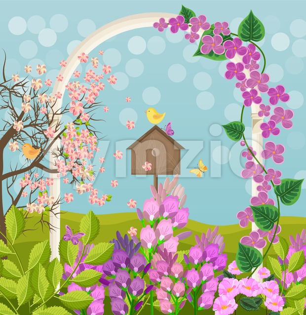 Beautiful spring card with bird house Vector illustration