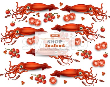 Squid pattern Vector. Seafood card background illustration Stock Vector