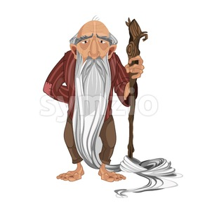 Old man shepherd Vector. cartoon character detailed illustration Stock Vector