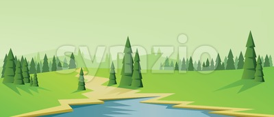 Digital vector abstract background with pines Stock Vector