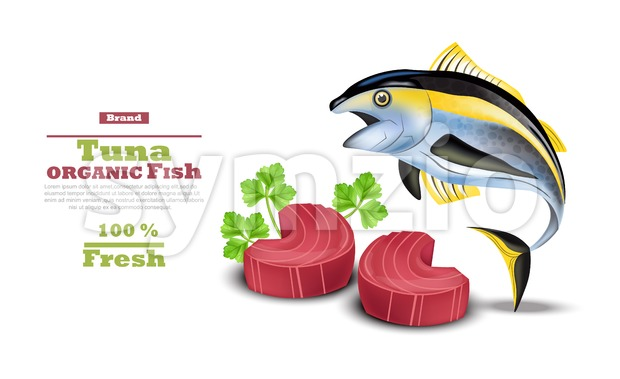 Fresh Tuna fish Vector. Organic tuna steak meat illustration Stock Vector