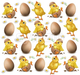 Chicken pattern cracked eggs Vector illustration. Easter background Stock Vector