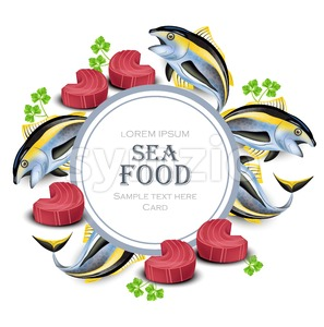 Tuna fish card Vector. realistic tuna steak seafood round frame illustration Stock Vector