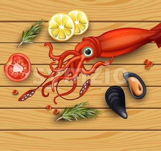Squid and mussels seafood on wood background. Vector realistic detailed illustration Stock Vector