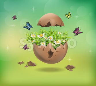 Happy Easter Cracked egg and chamomile flowers illustration Stock Vector