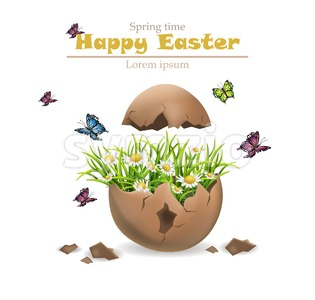 Happy Easter card Vector. Cracked egg and flowers illustration Stock Vector