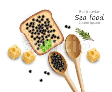 Black Caviar toast Vector realistic. Top view 3d detailed illustration Stock Vector