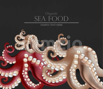 Fresh octopus Vector realistic. 3d detailed seafood illustration Stock Vector