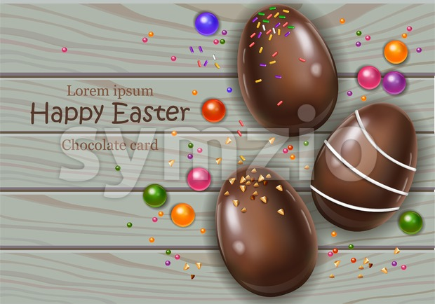 Happy Easter chocolate eggs card. Vector 3d realistic illustration Stock Vector