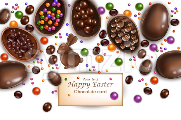 Happy Easter card with chocolate bunny and eggs. Vector 3d realistic illustration Stock Vector