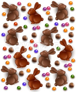 Chocolate bunny and eggs pattern background. Vector 3d realistic illustration Stock Vector