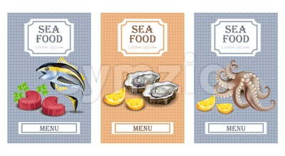 Sea food menu card Vector realistic. Layout Template with oysters, tuna fish and octopus Stock Vector