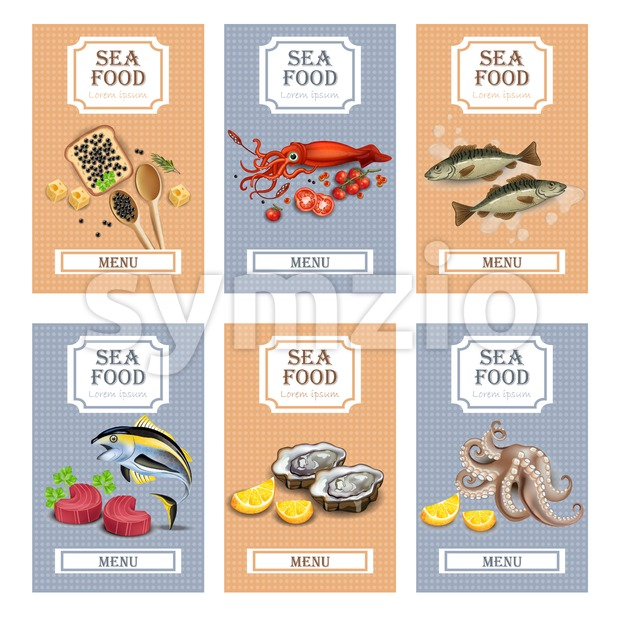 Sea food menu cards Vector realistic. Layout Template with oysters, tuna fish, octopus and caviar