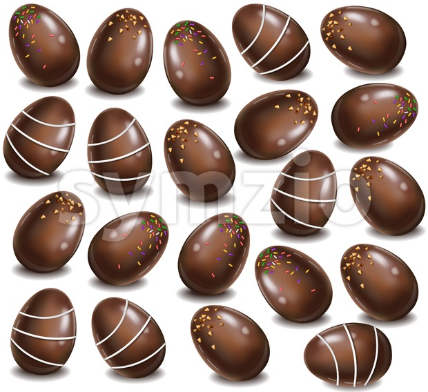 Chocolate eggs pattern background. Vector 3d realistic illustration Stock Vector