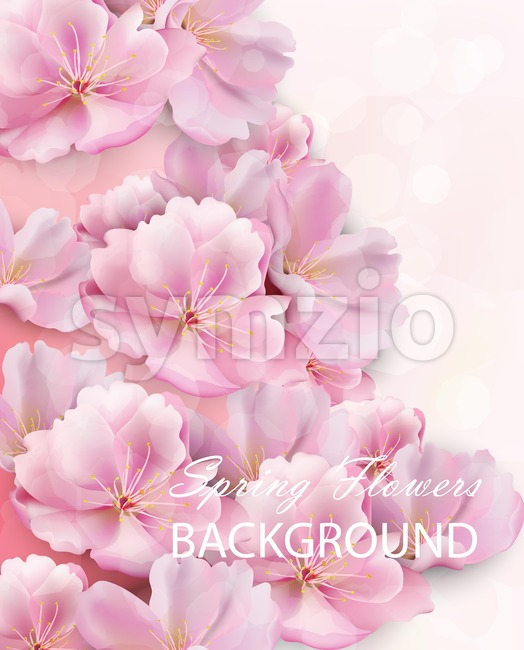 Watercolor spring pink flowers background Vector illustration Stock Vector
