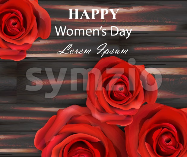 Happy women day red roses on wooden background Vector illustration Stock Vector
