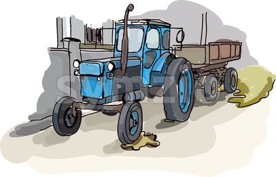Digital vector painted old belarus tractor Stock Vector