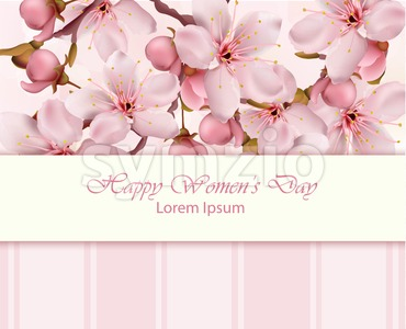 Cherry flowers branch Happy Women day card Vector illustration Stock Vector