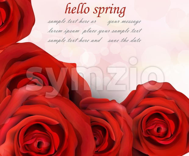 Hello spring red roses Vector. Romantic passional greeting card template Stock Vector