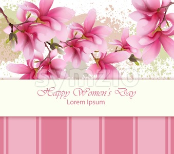 Happy women day flowers card Vector. Watercolor delicate floral template. Lovely greeting vintage splash background Stock Vector