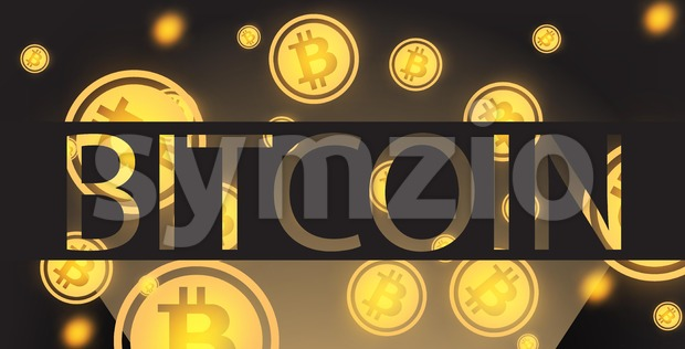 Bitcoin background Vector. Cryptocurrency golden coins falling Stock Vector
