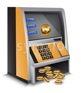 ATM bitcoins cash machine Vector illustration. Cryptocurrency tranfers concept Stock Vector