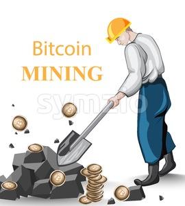 Human mining Bitcoins vintage concept. Vector illustration Stock Vector