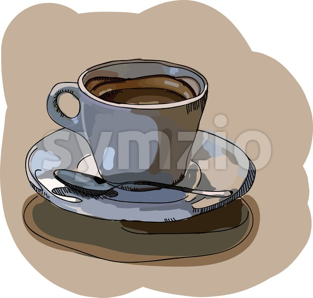 Digital vector painted cup of coffee Stock Vector