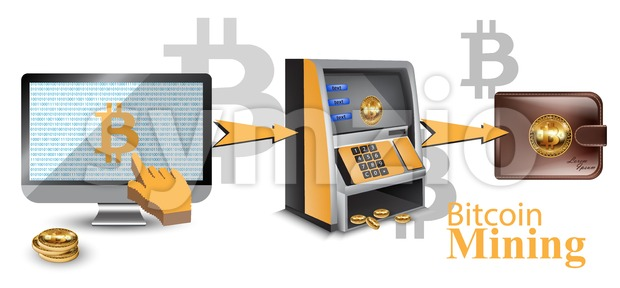 Digital vector bitcoin cryptocurrency realistic money transfers financial concept. Cash machine, wallet, computer Stock Vector