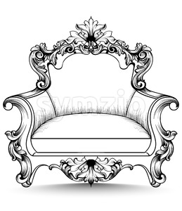 Baroque armchair with luxurious ornaments. Vector French rich intricate structure. Victorian Royal Style decor Stock Vector