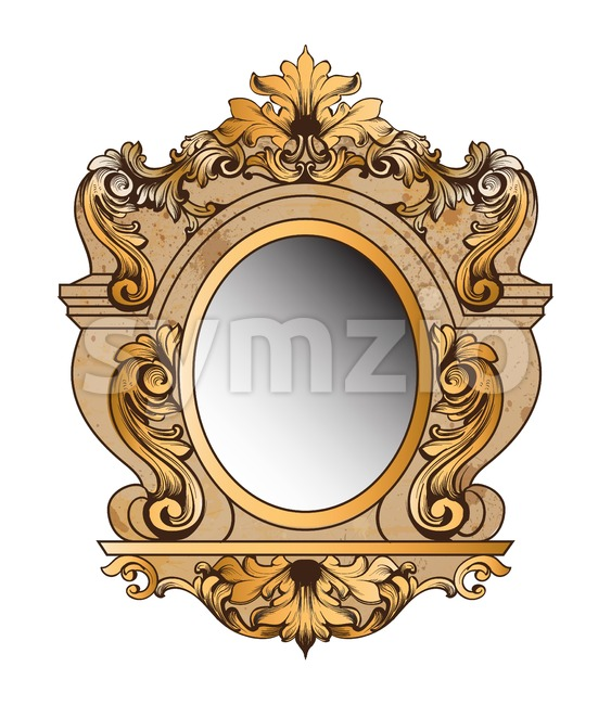 Baroque golden mirror frame. Vector round decor design elements. Rich encarved ornament Stock Vector