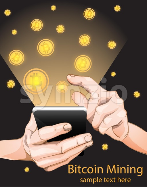 Bitcoin Mining from smart phone. Vector illustration