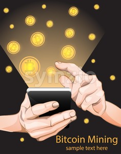 Bitcoin Mining from smart phone. Vector illustration Stock Vector