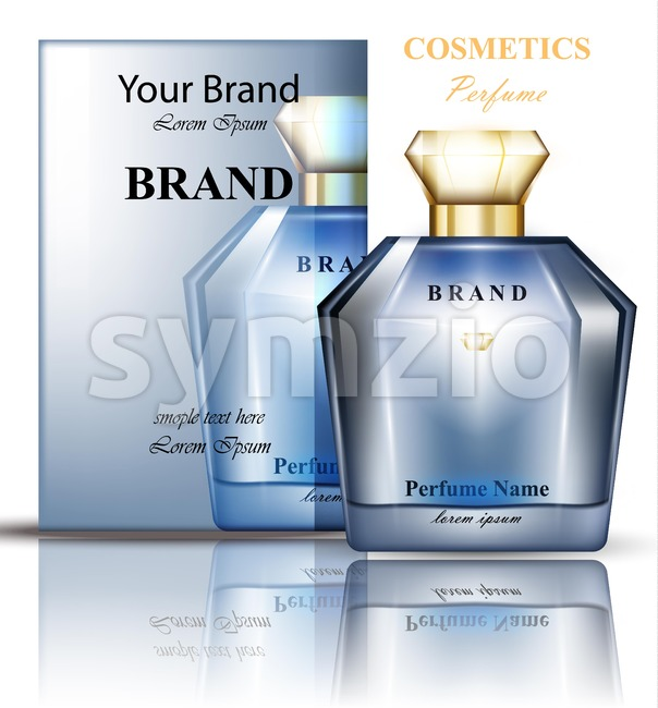 Perfume bottle with delicate blue flowers fragrance. Realistic Vector Product packaging design