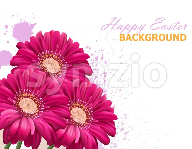 Happy Easter daisy flowers bouquet card. Spring floral beauty Fuchsia color