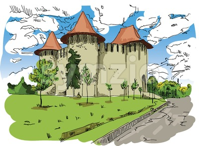 Digital vector painted Soroca Castle Stock Vector
