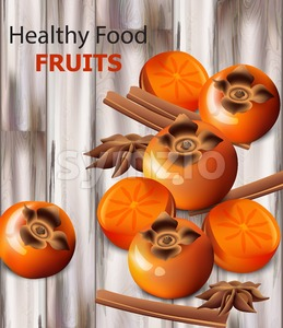 Persimmon fruits vector realistic. Fresh sliced fruits, wooden background, vintage styled background Stock Vector