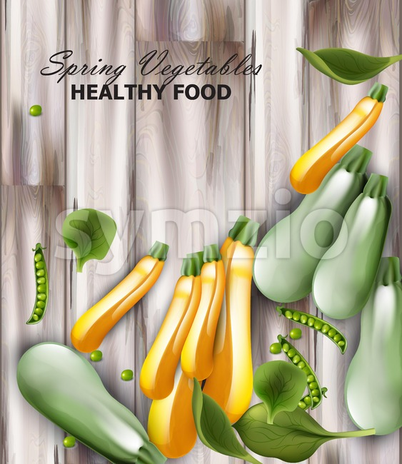 Fresh zucchini Vector realistic. wooden background. green peas decor Stock Vector
