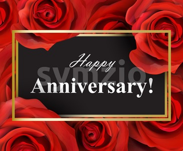 Happy Anniversary red roses background. Vector realistic flowers card Stock Vector