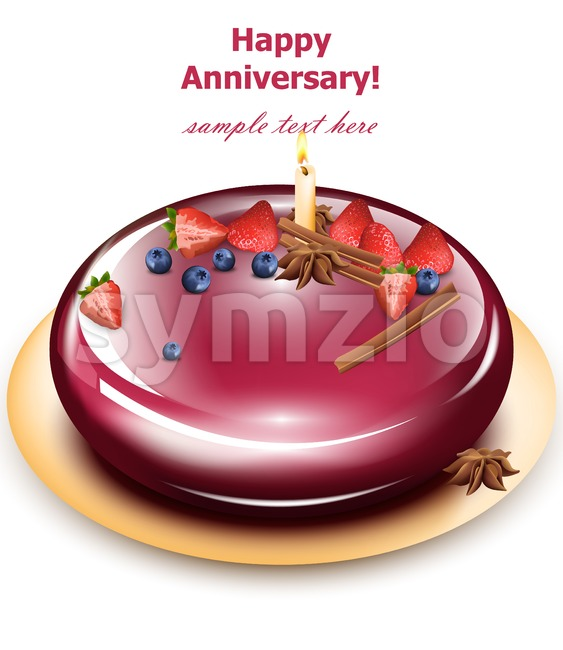 Happy Anniversary cake Vector. Sweet birthday dessert mirror glaze cakes Stock Vector