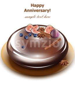 Happy Anniversary cake Vector. Sweet birthday dessert mirror glaze cake Stock Vector